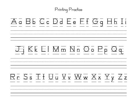 printable tracing letters template for preschool kindergarten