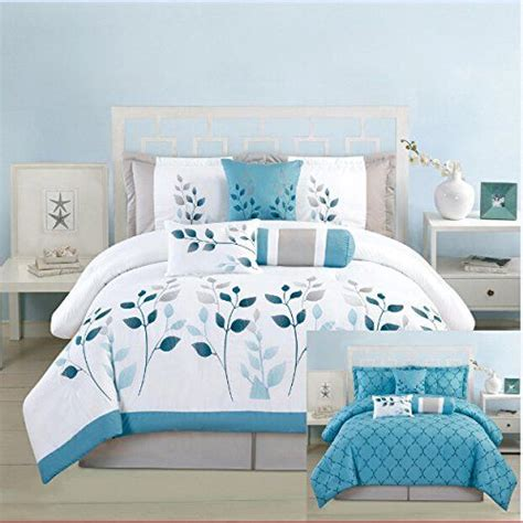king size turquoise comforter 7 pieces luxury reversible turquoise blue white and grey