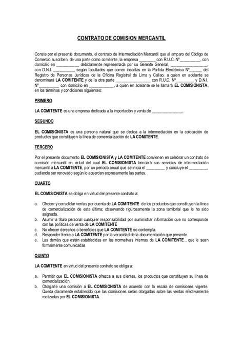 formato modelo o ejemplo de contrato de asimilados a salarios contrato de comisi 243 n mercantil