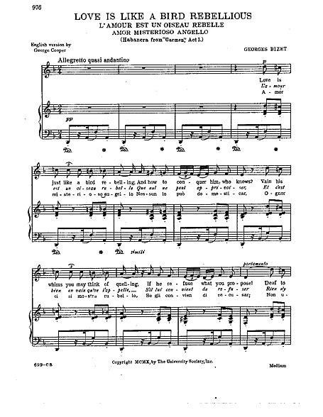 Carmen Habanera - voice & piano - Voz, Piano - Partituras