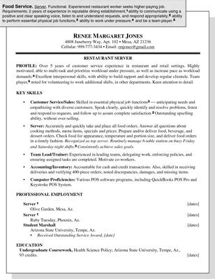 sle resume for a food service position dummies