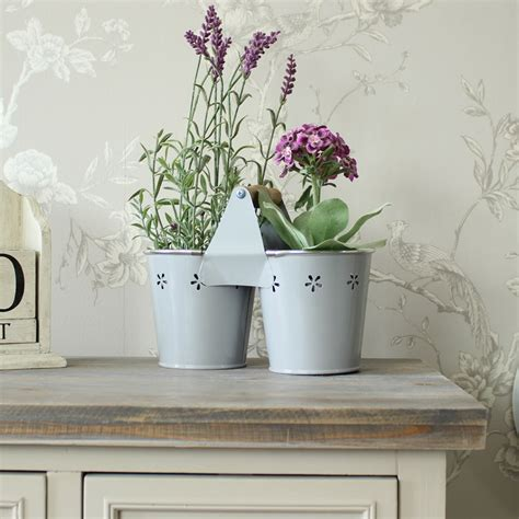 Shabby Chic Garden Planters by Grey Painted Metal Planter Shabby Vintage Chic Gift
