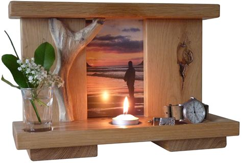 woodwork in home made oak memorials shrines altars marker for