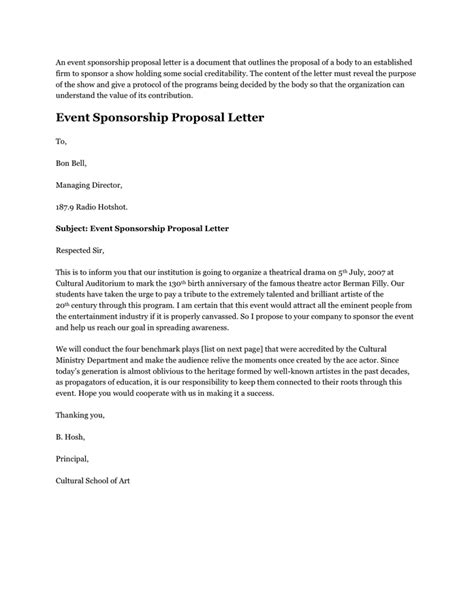 Sle Of Letter For School Event Event Sponsorship Letter In Word And Pdf Formats