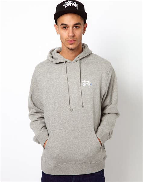 Hoodie Sweater Stussy 1 stussy hoodie basic logo back print in gray for lyst