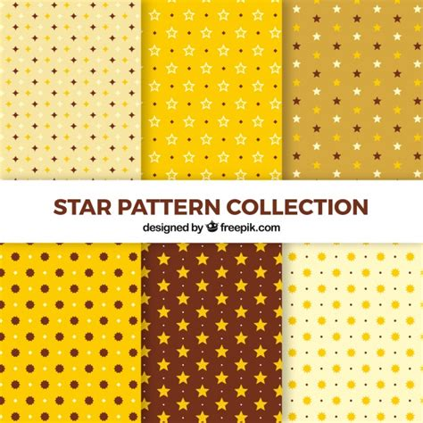 ai pattern pack yellow star pattern pack of six vector free download