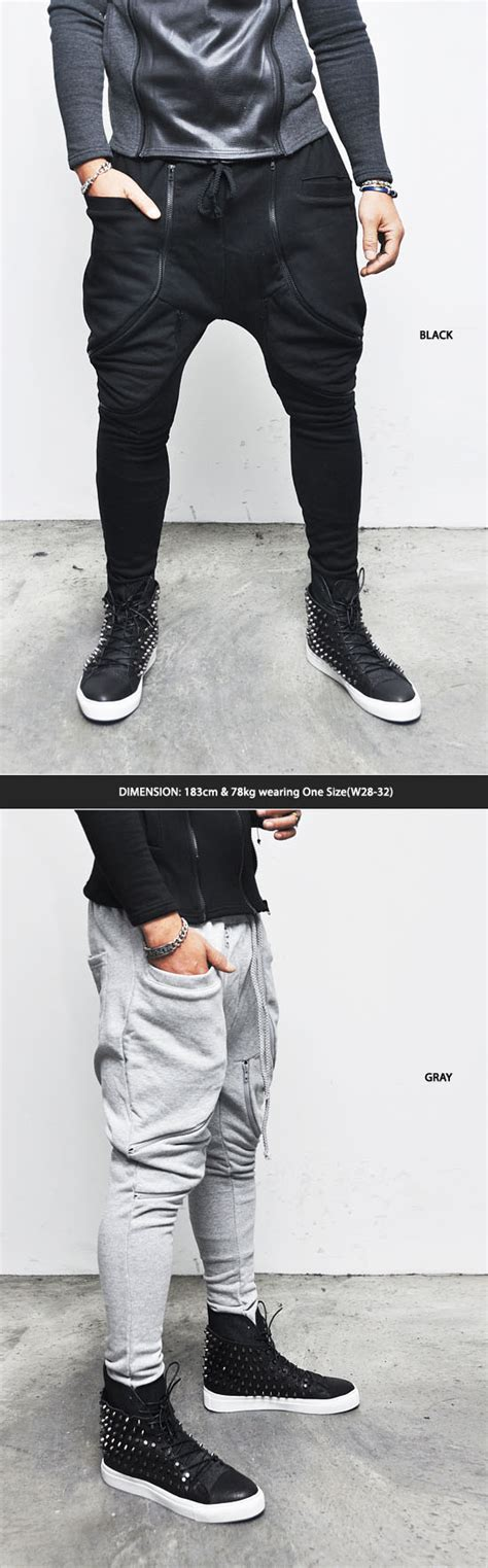 Baju Jogger Zipper Hn avant garde mens low drop crotch harem dual zipper jer baggy sweatpants guylook ebay