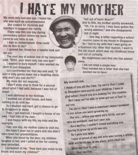 Heart touching story my mom only had one eye be your own boss