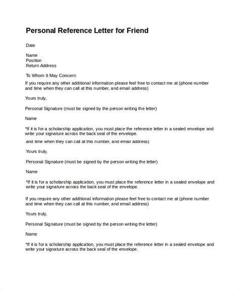 search results for personal reference letters for a