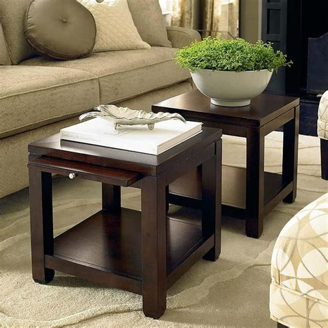 Small Cube Coffee Tables Bunching Cube Coffee Table With Satin Nickel Hardware In Walnut
