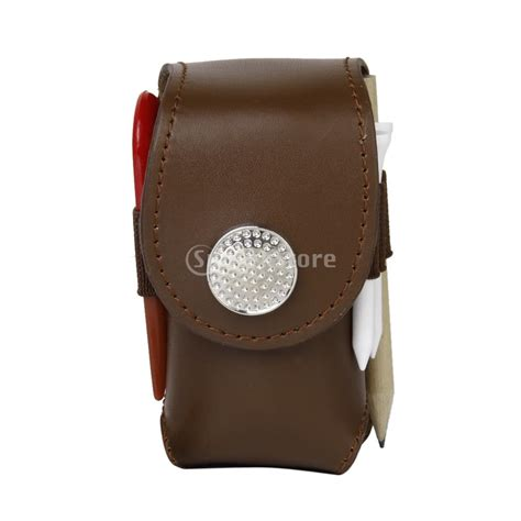 Pouch Bag Mini mini portable leather clip on golf holder pouch bag hold 2 balls golfer aid tool gift brown