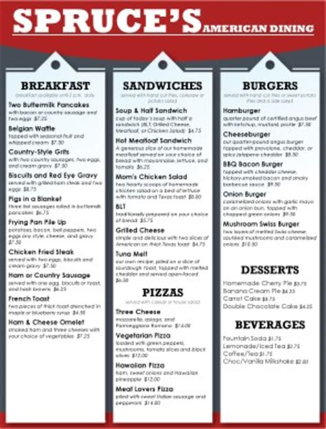 family menu template family restaurant menus restaurant
