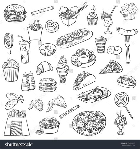 doodle food eps doodle icon fast food excellent vector stock vector