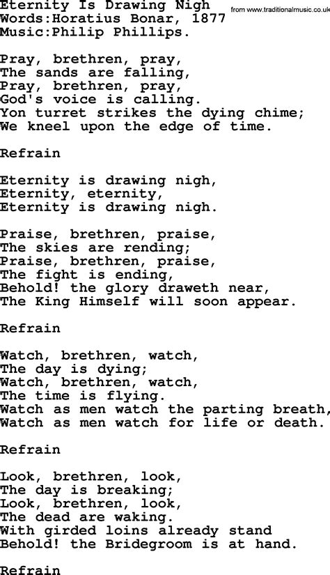 Drawing Nigh by Songs And Hymns About Jesus Second Coming Eternity Is