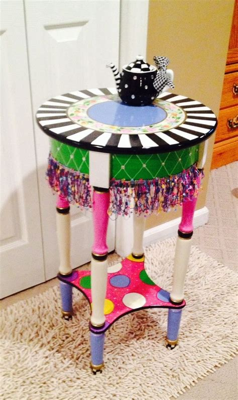 side table accent table vintage whimsical golfer s hand crafted hand painted round side accent table custom
