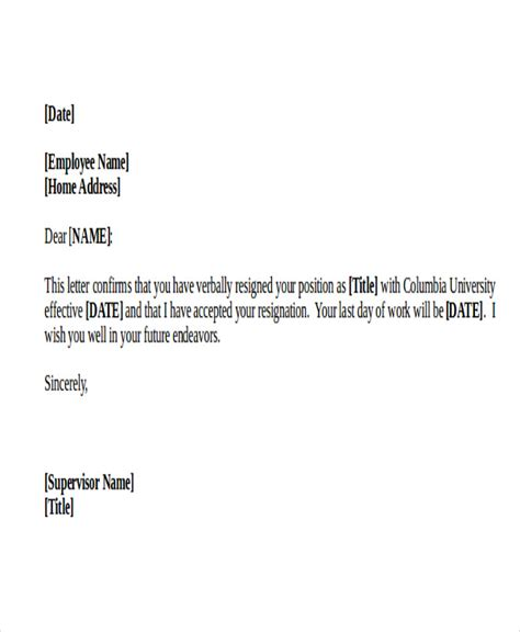 Confirmation Letter Of Resignation 42 Resignation Letter Template In Doc Free Premium Templates