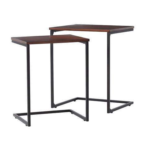 black nesting end tables home decorators collection black 2 nesting end table