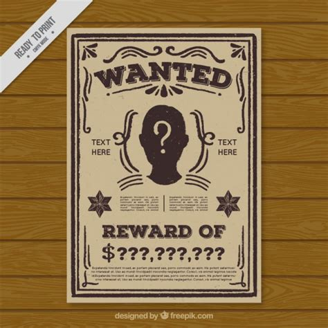 Free Vintage Poster Templates by Vintage Wanted Criminal Poster Template Vector Free