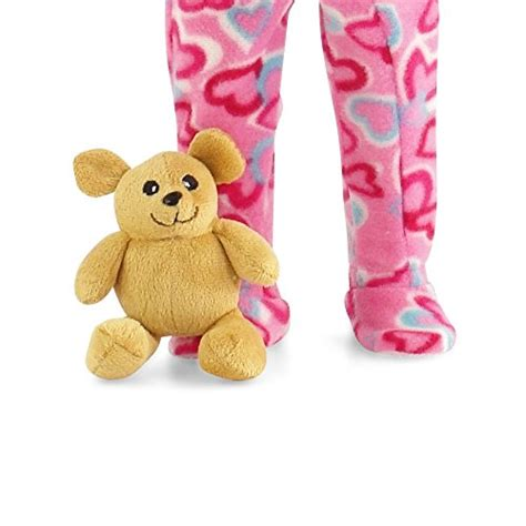Pink Teddy Pajamas 18 inch doll pink footed pajamas with teddy