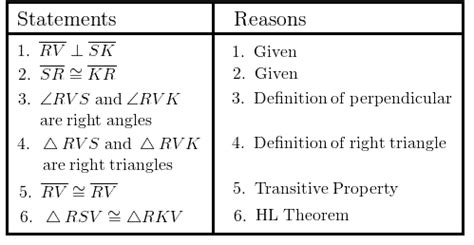 list of reasons for geometric proofs reference right triangle congruence wyzant resources