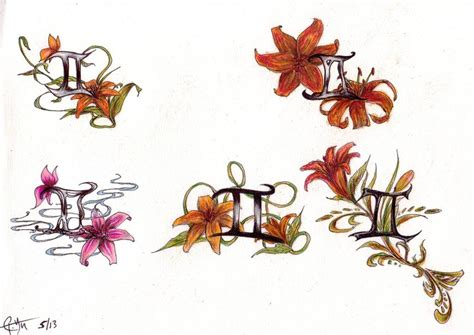 small tiger lily tattoo gemini symbol search