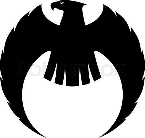 powerful eagle silhouette with long curved wings and a