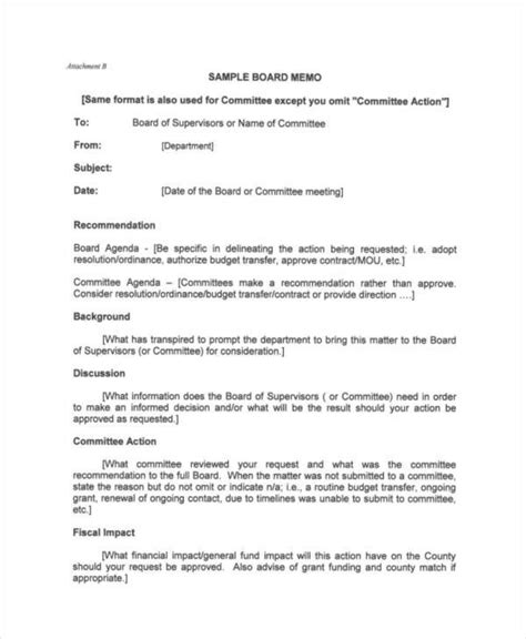 board memo templates 8 board memo template exles in word pdf sle
