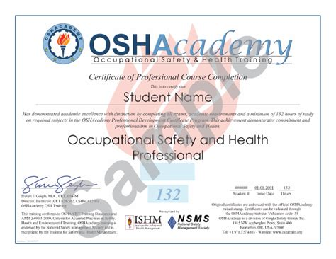 oshacademy 132 hour osh professional program ehs
