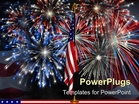 Powerpoint Template Red White And Blue Fireworks Behind Fireworks Animation For Powerpoint