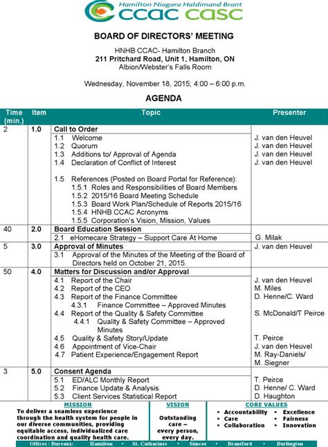 board of directors meeting agenda templates download
