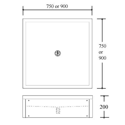 Standing Shower Dimensions by Stainless Steel Floor Standing Shower Tray 750mm Or 900mm Square