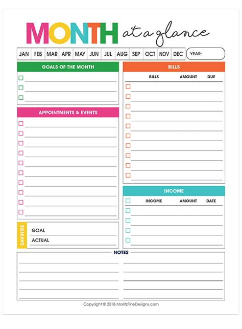 monthly overview planner printable calendar
