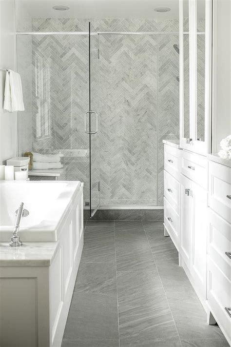 marbled tile glass door showe gray bathroom i like the white porcelain herringbone tiles design ideas