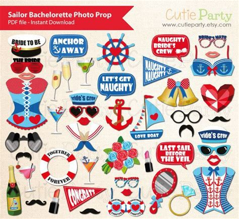 hens night photo booth props printable sailor themed bachelorette party photo booth prop
