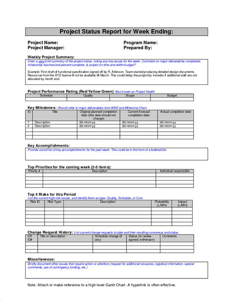 4 weekly report templatereport template document report