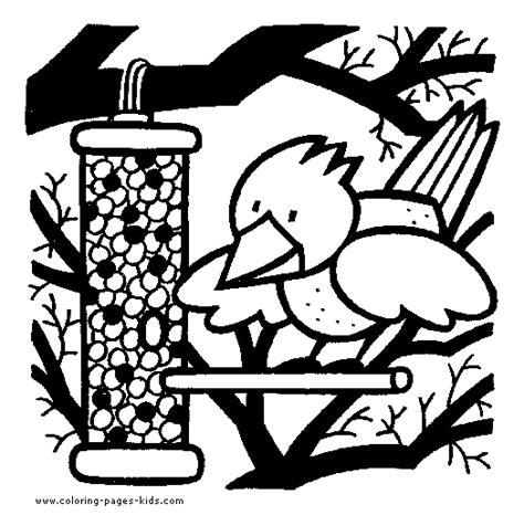 coloring page bird feeder gardening color page