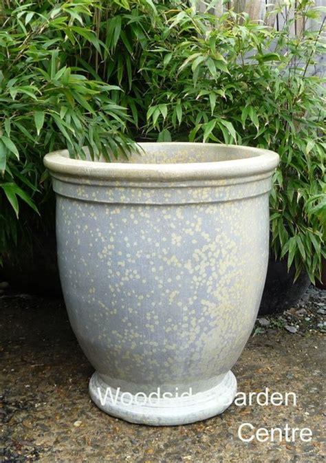 Glazed Garden Pots Glacier White Glazed Egg Cup Planter Decor Feature Pot