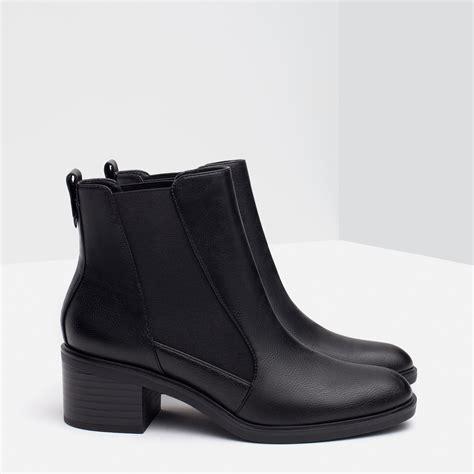 zara boot zara elastic ankle boots in black lyst