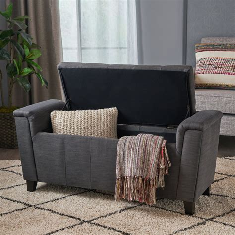 beige tufted fabric armed storage ottoman bench nh