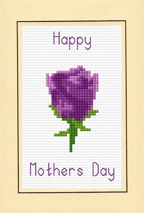 Mothers Day Card   Purple Rose Flower   14 Count Cross