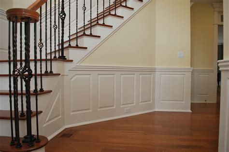 Chair Rail At Lowes - custom raised panel staircase wainscoting pictures
