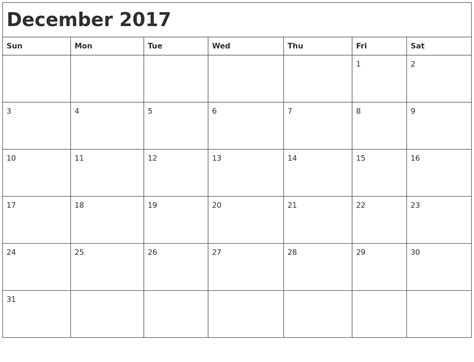 printable calendar month december 2017 december calendars