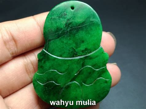 Giok Batu Hijau batu liontin giok jade hijau ukir dewi kwan im asli kode