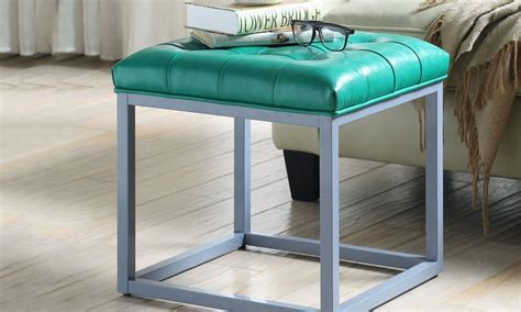 leather and metal ottoman leather metal cube ottoman groupon goods
