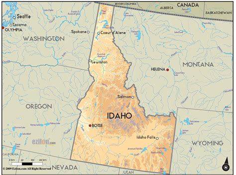 maps of idaho geographical map of idaho and idaho geographical maps
