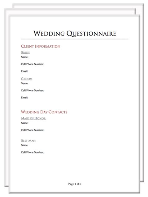 Wedding Planner Questionnaire For by Photography Client Questionnaire Packet