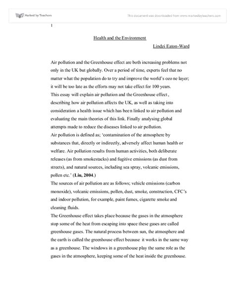 Environmental Health Essay by Health The Environment A Level Geography Marked By Teachers