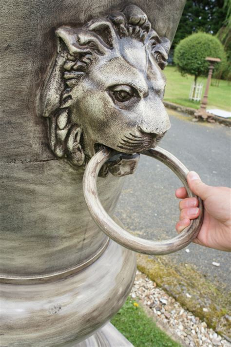 Cast Iron Urn Planters by Royal Abasambo Lion Head Pedestal Garden Urn Garden