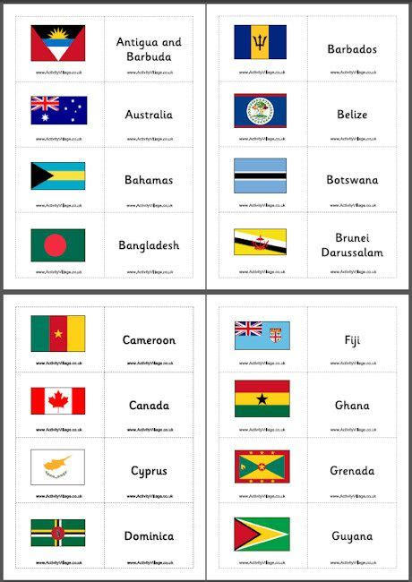 flags of the world memory game commonwealth flag matching game flash cards freebie
