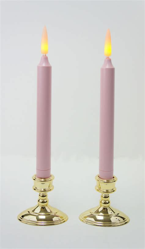 battery taper candles uk taper candles 9 pink battery operated led candles w timer base set of 2 ebay